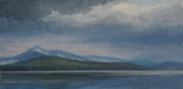 "Silver Lake, Storms, oil on panel, 6""x12"""