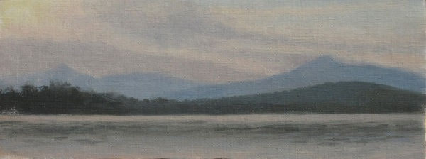 "Silver Lake Sunrise #3, oil on linen, 9.5""x4"""
