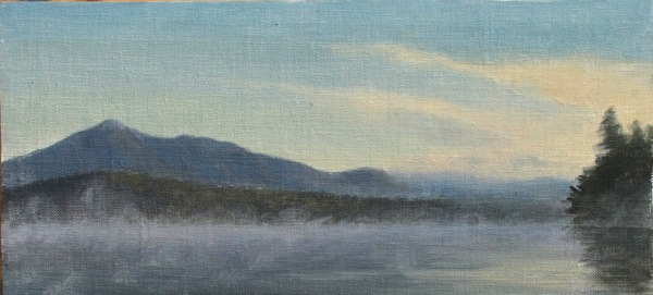 "Silver Lake Sunrise #2, oil on linen, 8""x3.5"""