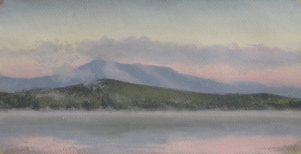 "Silver Lake Sunrise #1, oil on paper, 10""x5"""