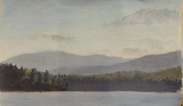 "Silver Lake Sunset #4, oil on linen, 5.5""x3"""