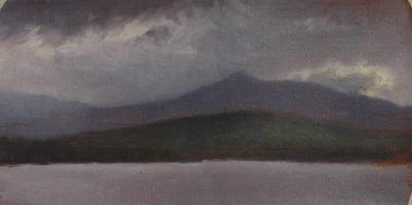 "Silver Lake Sunset #3, oil on linen, 8""x4"""