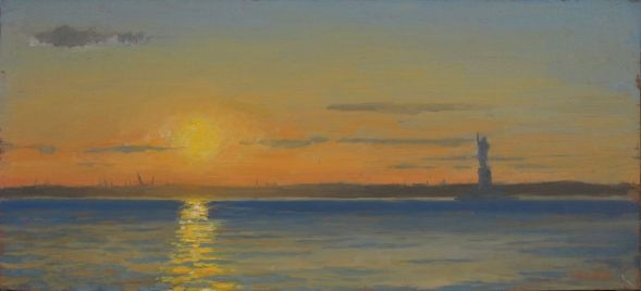 "My first NYC plein air of the 2013 season!  Sunset from the Red Hook Pier. 5""x10"""