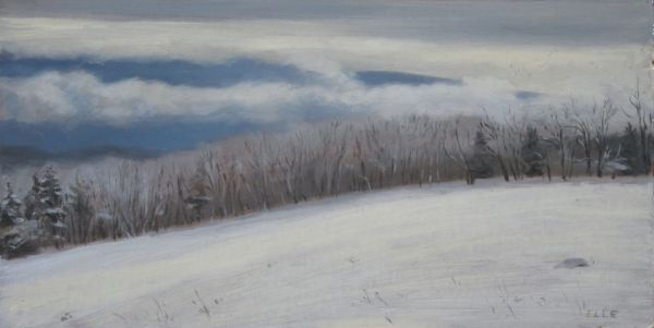 "Frosty Morning, oil on archival bookboard, 7""x10"""