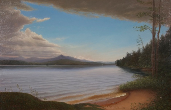 "the final painting: Silver Lake, 22""x43"", oil on linen, 2013"